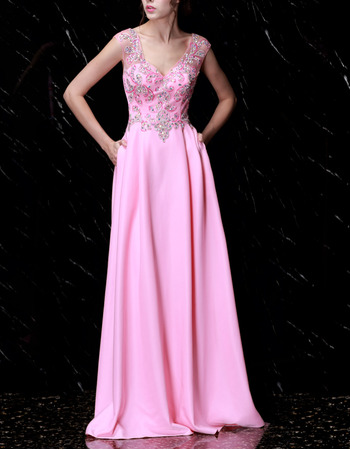 Shimmering Crystal Beading Embellished Bodice Evening Dresses with Pockets