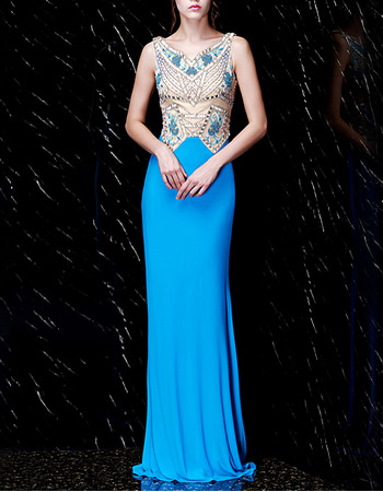 Shimmering Crystal Beading Embellished Bodice Chiffon Evening Dresses