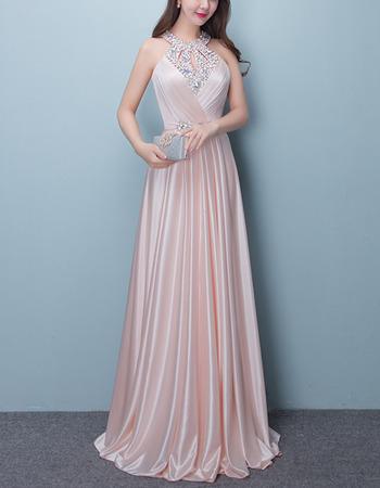 Dramatic Crystal Beaded Halter-neck Elastic Woven Satin Evening Dresses
