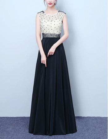 Graceful Color Block Sleeveless Full Length Evening Dresses with Beaded Lace Bodice