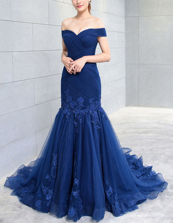 Modern Off-the-shoulder Mermaid Pleated Tulle Evening Dresses with Beading Appliques