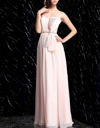 Classy Sweetheart Pleated Chiffon Evening Dresses with Beading Crystal Belt and Big Bowknot