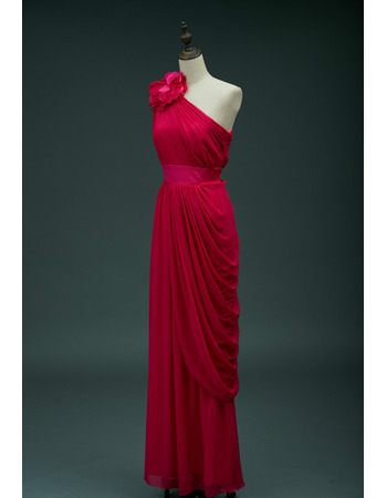 Discount Flower Strap One Shoulder Chiffon Evening Dresses with Asymmetric Draping