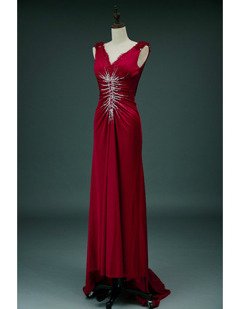 Dramatic Halter V-Neck Sleeveless Long Length Elastic Woven Satin Evening Dresses with Ruched Bodice