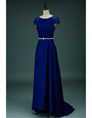 Sexy Deep V-back Silk Like Satin Evening Dresses with Cap Sleeves and Crystal-adorned Waist