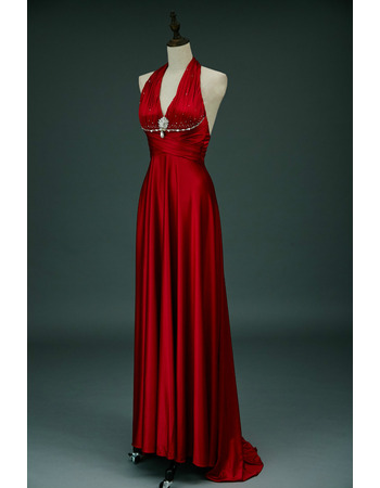 Stunning V-Neck Pleated Elastic Woven Satin Evening Dresses with Sexy Exposed Back