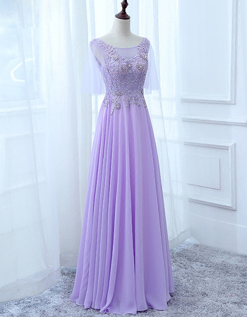 Elegantly Illusion Neckline Full Length Chiffon Evening Dresses with Appliques Beaded Bodice