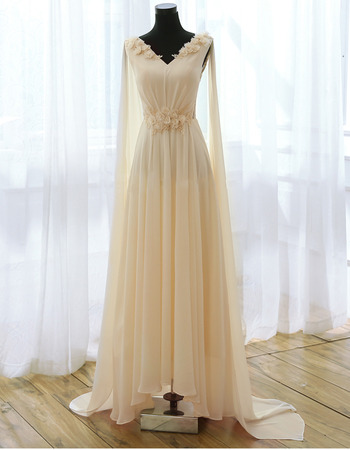 Romantic V-Neck Pleated Chiffon Evening Dresses with 3D Floral Detail