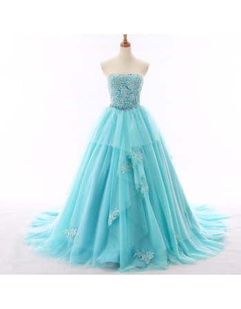 Glamorous Ball Gown Tulle Evening/ Prom Party Dresses with Floral Appliques Beaded Bodice