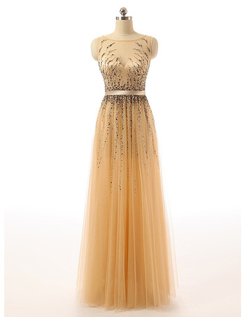 Illusion Neckline Tulle Evening Dresses with Sparkle & Shine Sequined Beading Detail