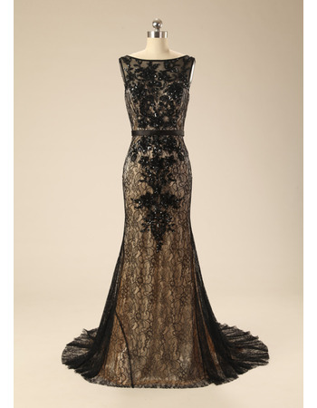 Stunning Bateau Neckline Black Lace Evening Dresses with Appliques Beaded Detail