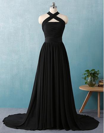 Elegant Cross Neckband Court Train Pleated Chiffon Black Evening Dresses