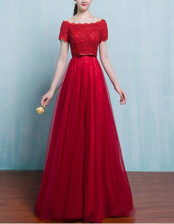 Graceful A-Line Bateau Neckline Formal Evening Dresses with Beaded Lace Bodice