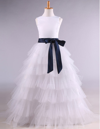 Discount Long Length Tulle Layered Skirt Flower Girl Dresses with Sashes