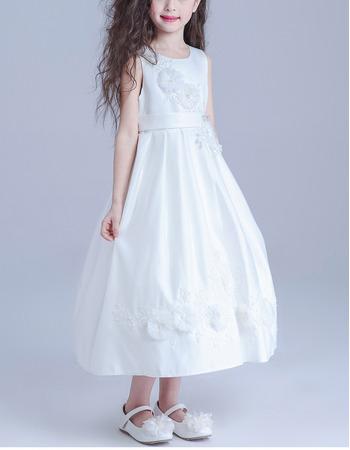 Beautiful Tea Length Satin White Girls Flower Girl Dresses/ Discount First Communion Plus Size Dresses