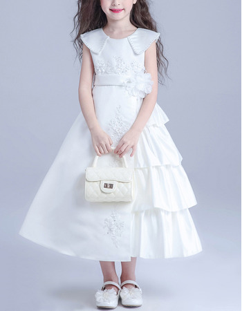 Pretty Unique Lapel Tea Length Satin Taffeta Asymmetric Ruched Tiered Flower Girl Dresses with Appliques Beaded