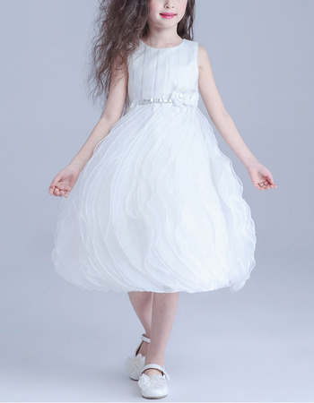 Amazing Ball Gown Short Satin Tulle with Ruffles Galore Skirt Flower Girl Dresses with Rhinestone Waist
