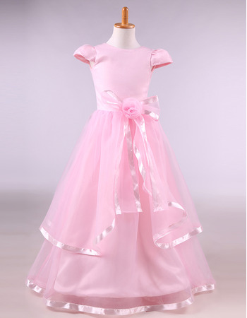 Discount Floor-length Satin Organza Pink Flower Girl Dresses with Cap Sleeves