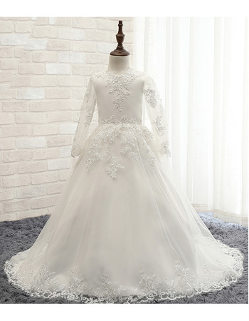 Affordable Ball Gown Scoop Neck Floor-length Satin Tulle First Communion Dresses with Long Sleeves