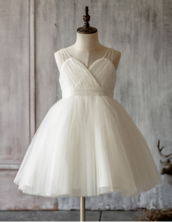 Inexpensive Couture Ball Gown Spaghetti Straps Short Pleated Tulle Flower Girl Dresses for Summer