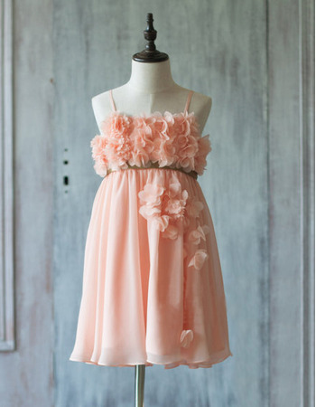 Beautiful Spaghetti Straps Short Chiffon Easter Little Girls Dresses with Petal Detailing and Hand-made Flowers