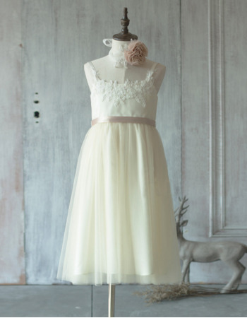 Inexpensive Spaghetti Straps Tea Length Satin Tulle Flower Girl Dresses with Appliques
