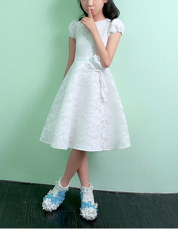 Discount Lovely Knee Length Lace Flower Girl Dresses with Short Sleeves and Hand-made Flowers/ Ivory First Communion Dresses
