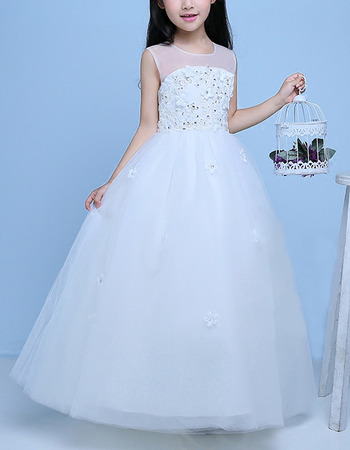Pretty Ball Gown Illusion Neckline Full Length Tulle Flower Girl Dresses with Beaded Appliques/ White First Communion Dresses