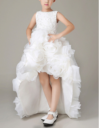 Luxury Pretty High-Low Asymmetrical Hem Lace Organza Floral Skirt Flower Girl Dresses with Beaded