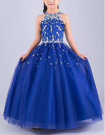 Gorgeous Ball Gown Sleeveless Full Length Tulle Flower Girl Dresses/ Luxury Crystal Beaded Girls Party Dresses
