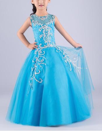 Luxury Ball Gown Sleeveless Full Length Tulle Flower Girl Dress/ Gorgeous Crystal Rhinestone Girls Party Dresses