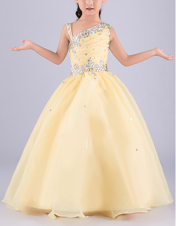 Gorgeous Ball Gown Asymmetric Neck Sleeveless Full Length Organza Flower Girl Dress/ Girls Party Dresses