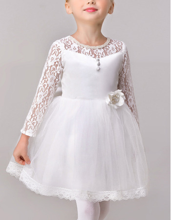 Cute Simple Ball Gown Short Lace Satin Flower Girl Dresses with Long Sleeves and Bow