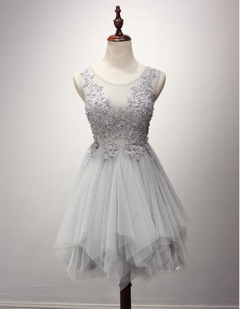 Custom A-Line Sleeveless Short Tulle Layered Skirt Homecoming Dresses