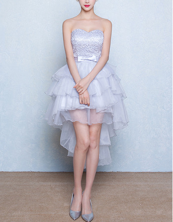 Graceful Sweetheart Lace Bodice Homecoming Dresses with High-Low Layered Organza Skirt