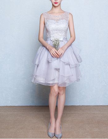 Sexy Sleeveless Short Layered Skirt Lace Organza Homecoming Dresses
