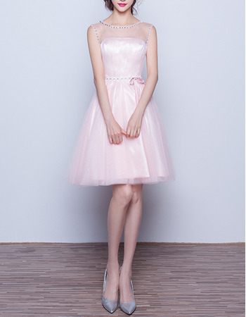 New Style Sleeveless Short Satin Tulle Homecoming Dresses