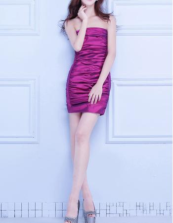 Affordable Column Strapless Sleeveless Short Taffeta Homecoming Dress