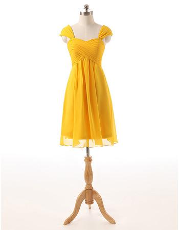 Elegant Sweetheart Cap Sleeves Knee Length Chiffon Homecoming Dresses