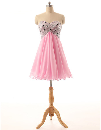 Sweetheart Short Chiffon Beading Homecoming Dresses