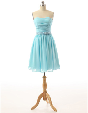 Custom Strapless Knee Length Chiffon Homecoming Dresses with Belts