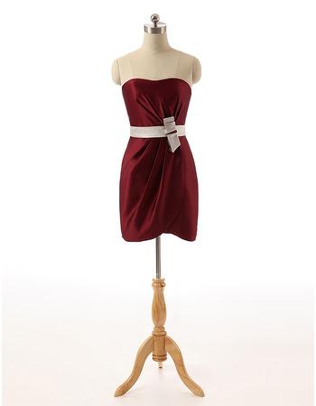 Sexy Column Strapless Sleeveless Short Satin Homecoming Dresses