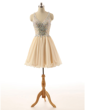 Perfect V-Neck Short Chiffon & Lace Homecoming Dresses with Shimmering Rhinestone Embellished
