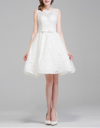 Affordable A-Line Sleeveless Lace Wedding Dresses with Sexy Open Back