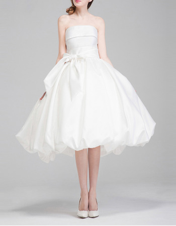Perfect Ball Gown Strapless Knee Length Taffeta Wedding Dresses with Bubble Skirt