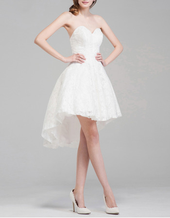Summer Sweetheart Sleeveless High-Low Lace Short Wedding Dresses