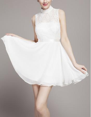 Custom High-Neck Sleeveless Chiffon Skirt Wedding Dresses with Keyhole Back