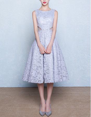 Simple A-Line Sleeveless Tea Length Lace Wedding Dress with Cutout Waist