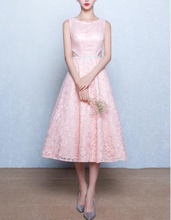 Simple A-Line Tea Length Lace Pink Wedding Dress with Cutout Waist