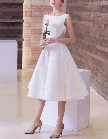 A-Line Bateau Sleeveless Tea Length Lace Wedding Dresses